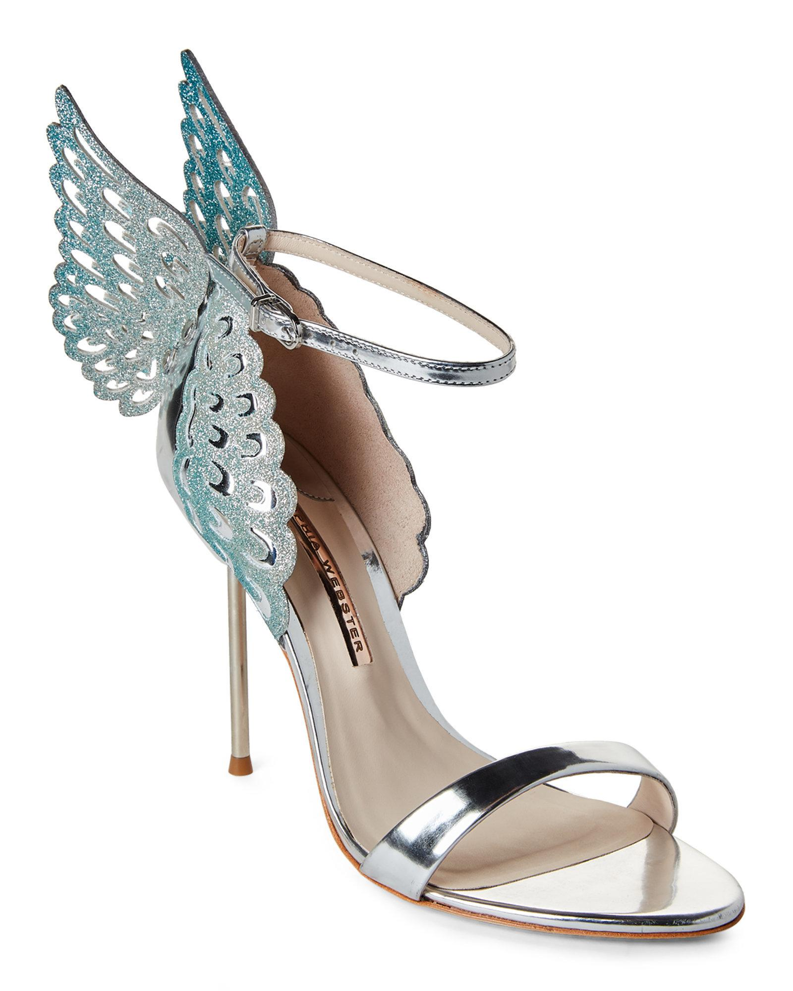 6792208689c Lyst - Sophia Webster Silver   Blue Glitter Evangeline Angel Wing ...