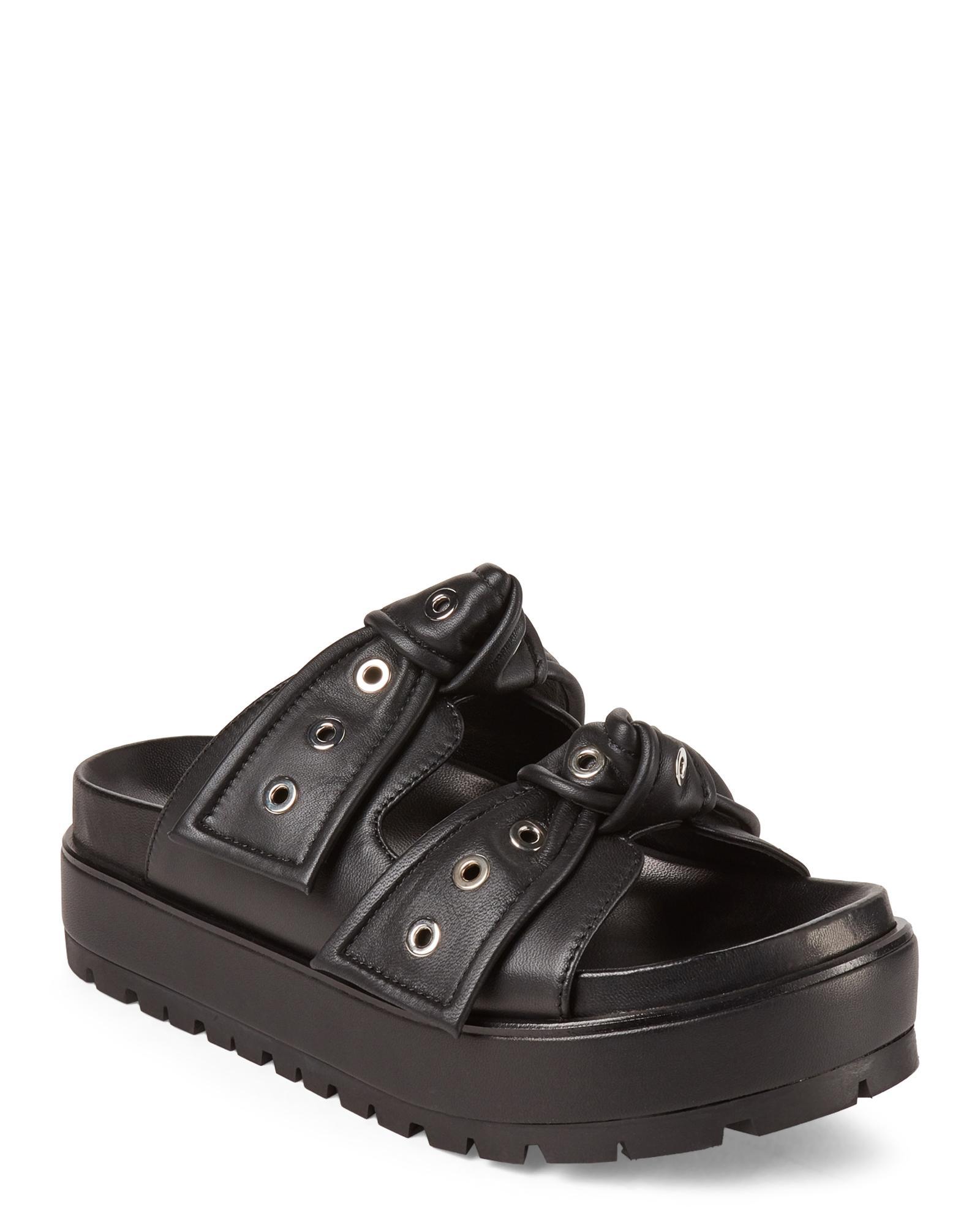 a1c81d5731c Lyst - Alexander McQueen Black Platform Leather Slide Sandals in Black