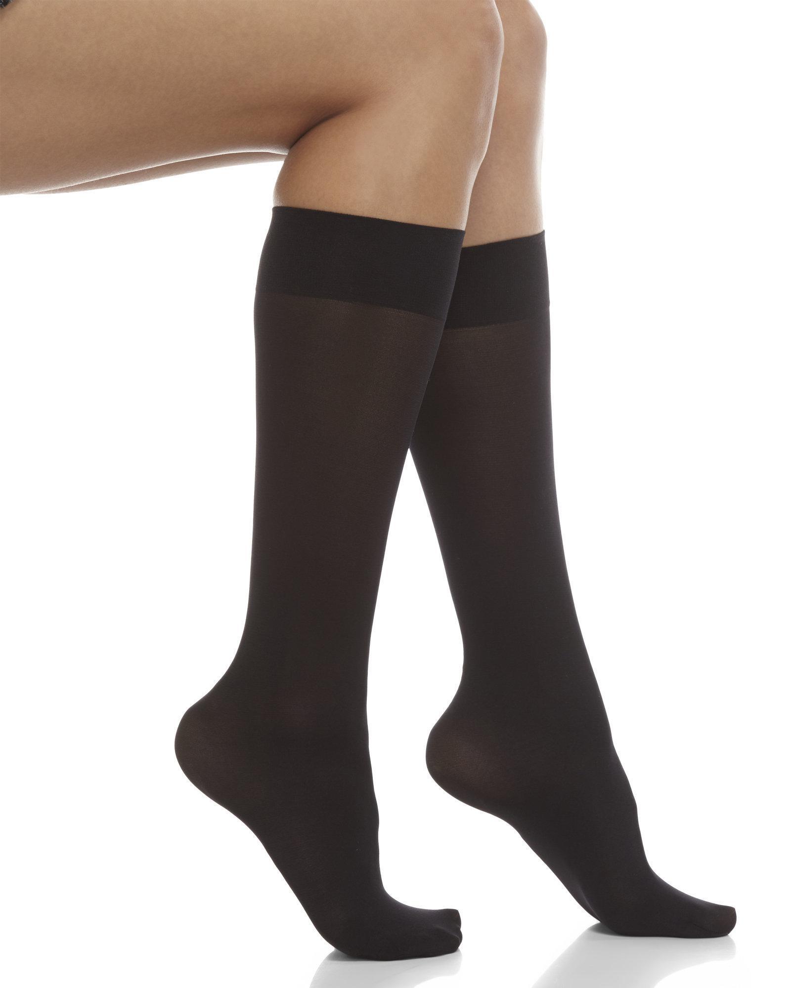 40e12423256 Lyst Hue 3 Pack Opaque Knee High Trouser Socks In Black