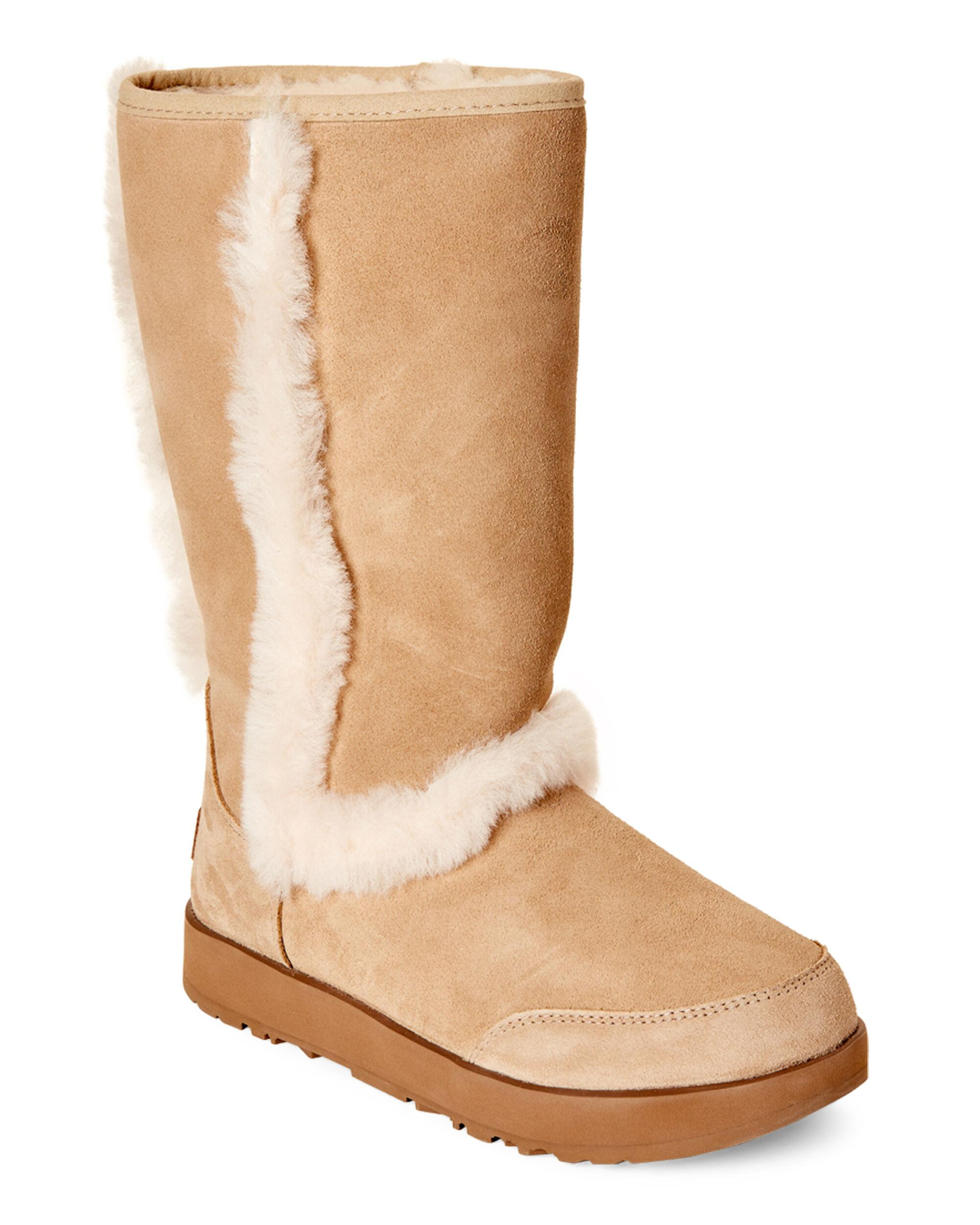 6f0c98af68e UGG Sand Sundance Waterproof Real Fur Boots in Natural - Lyst