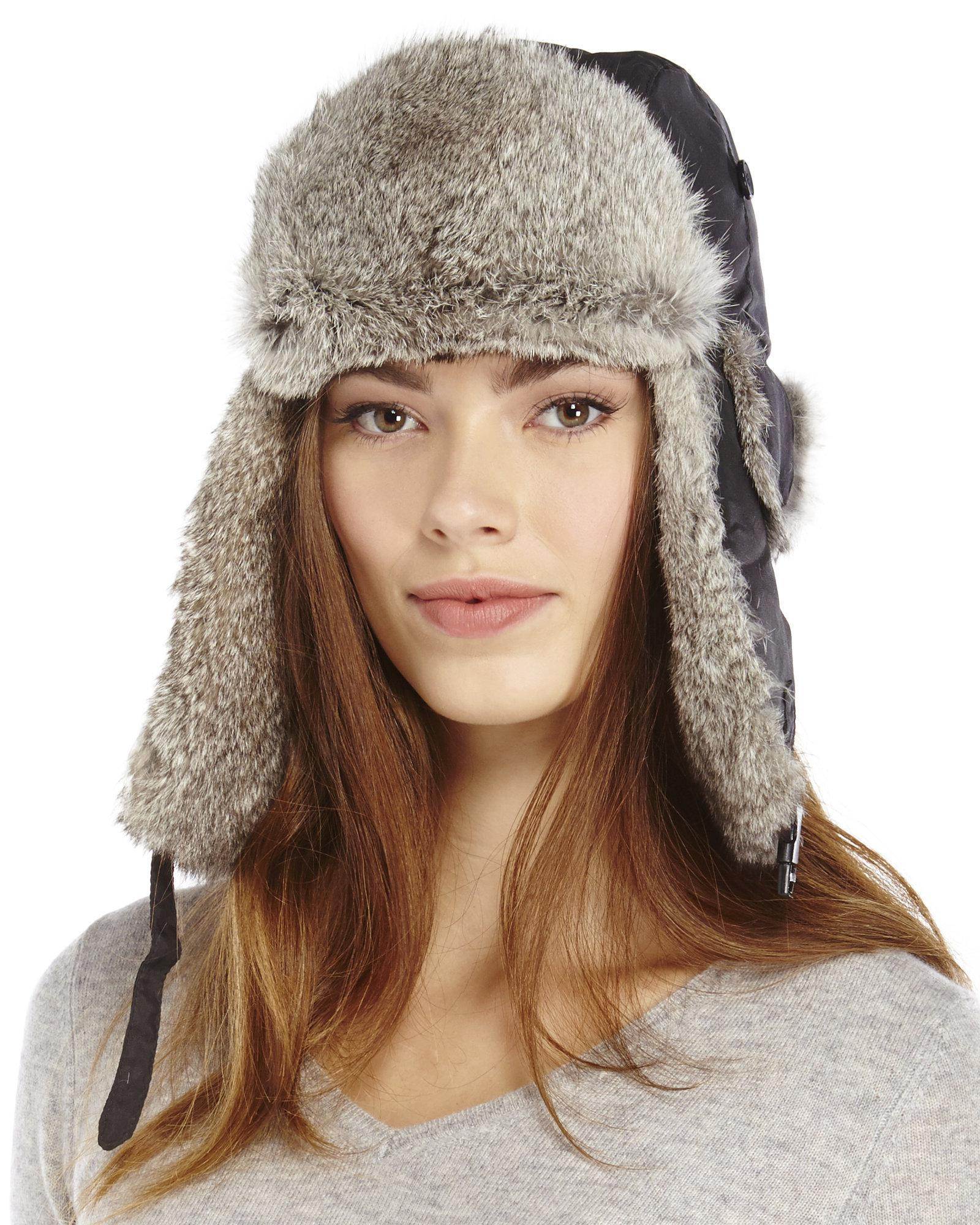 Lyst - Crown Cap Real Rabbit Fur Trapper Hat in Gray 258cd0d9384a