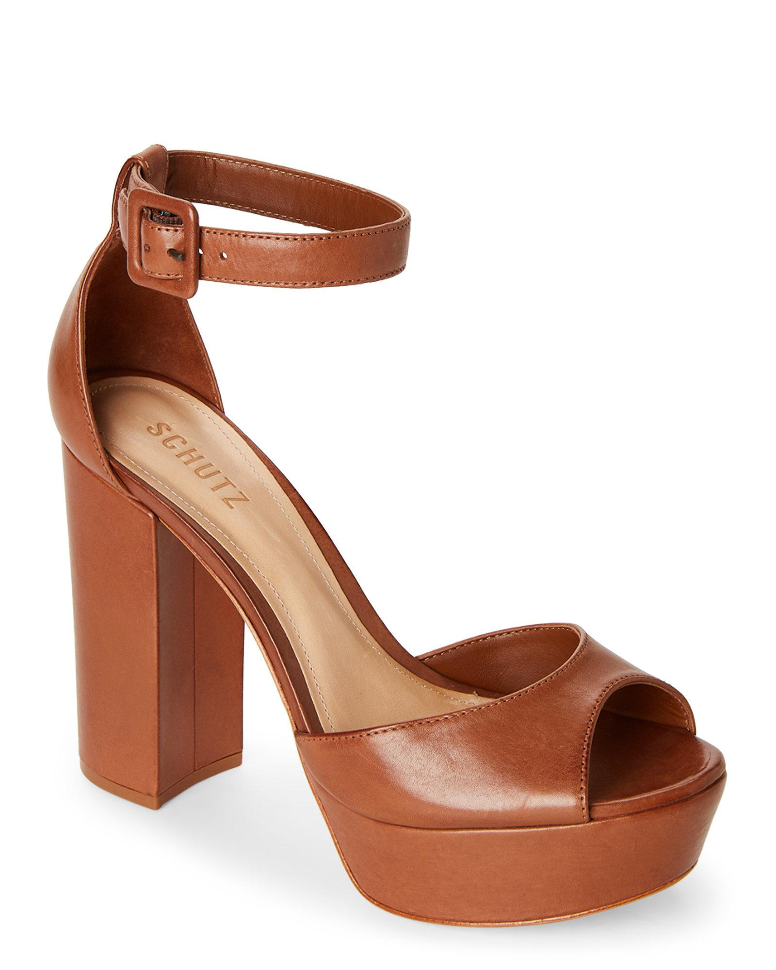 044656cbfe15 Lyst - Schutz Saddle Mikella Block Heel Platform Sandals in Brown