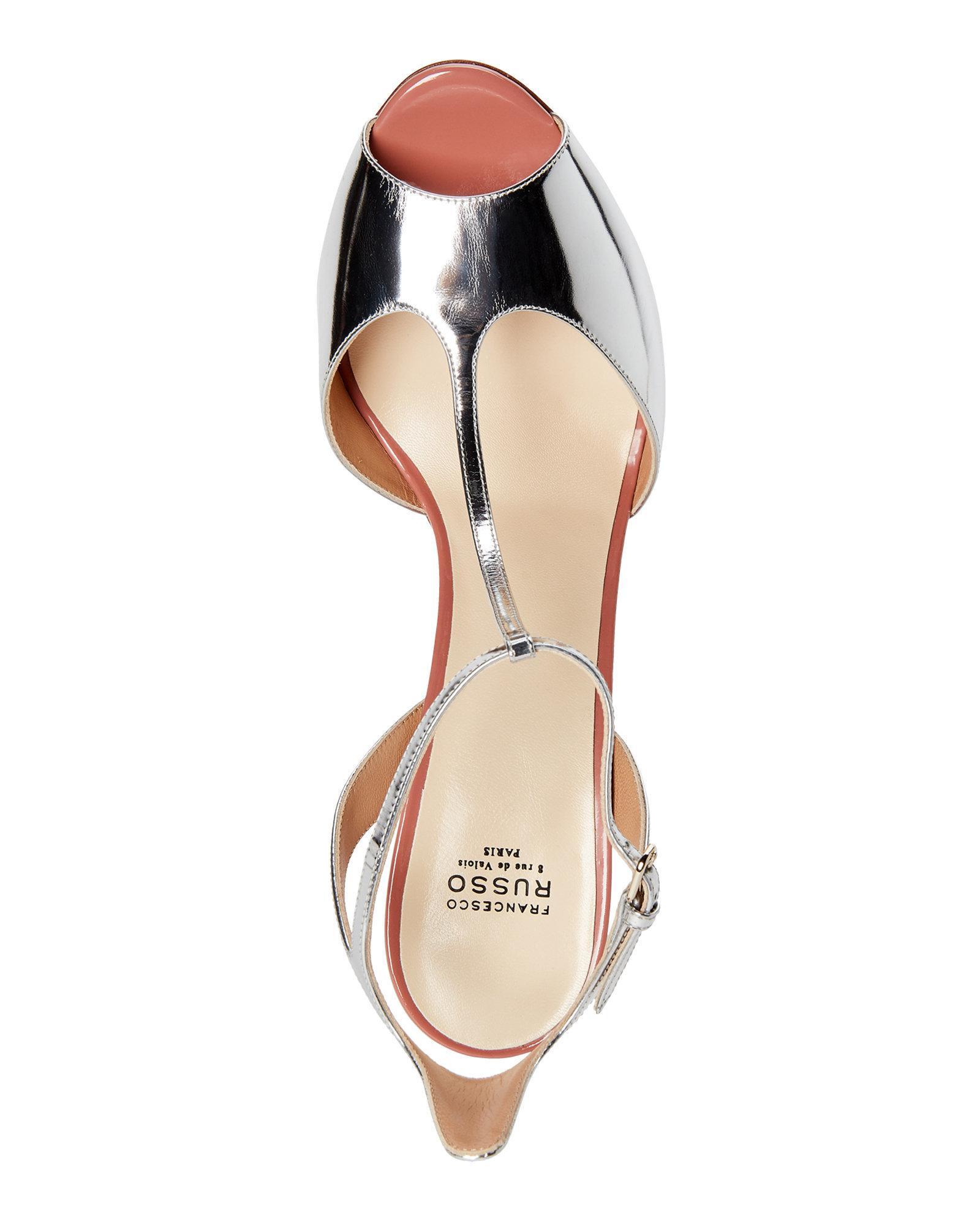 22550217cde Lyst - Francesco Russo Silver T-strap Peep Toe Pumps in Metallic