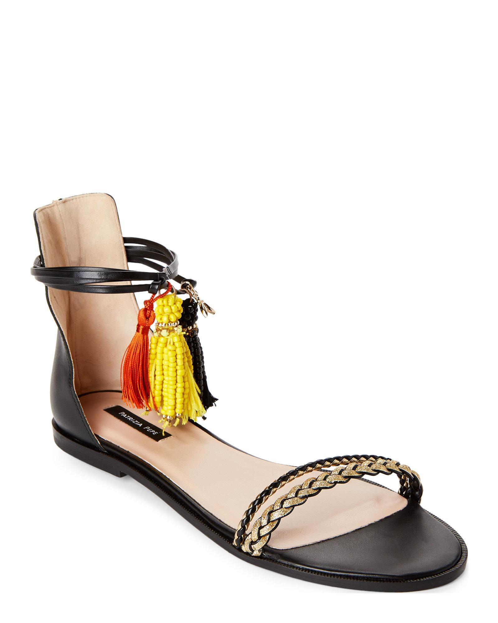 Lyst - Patrizia Pepe Black   Gold Beaded Tassel Ankle-wrap Sandals ... 1ac2e0cc9e8
