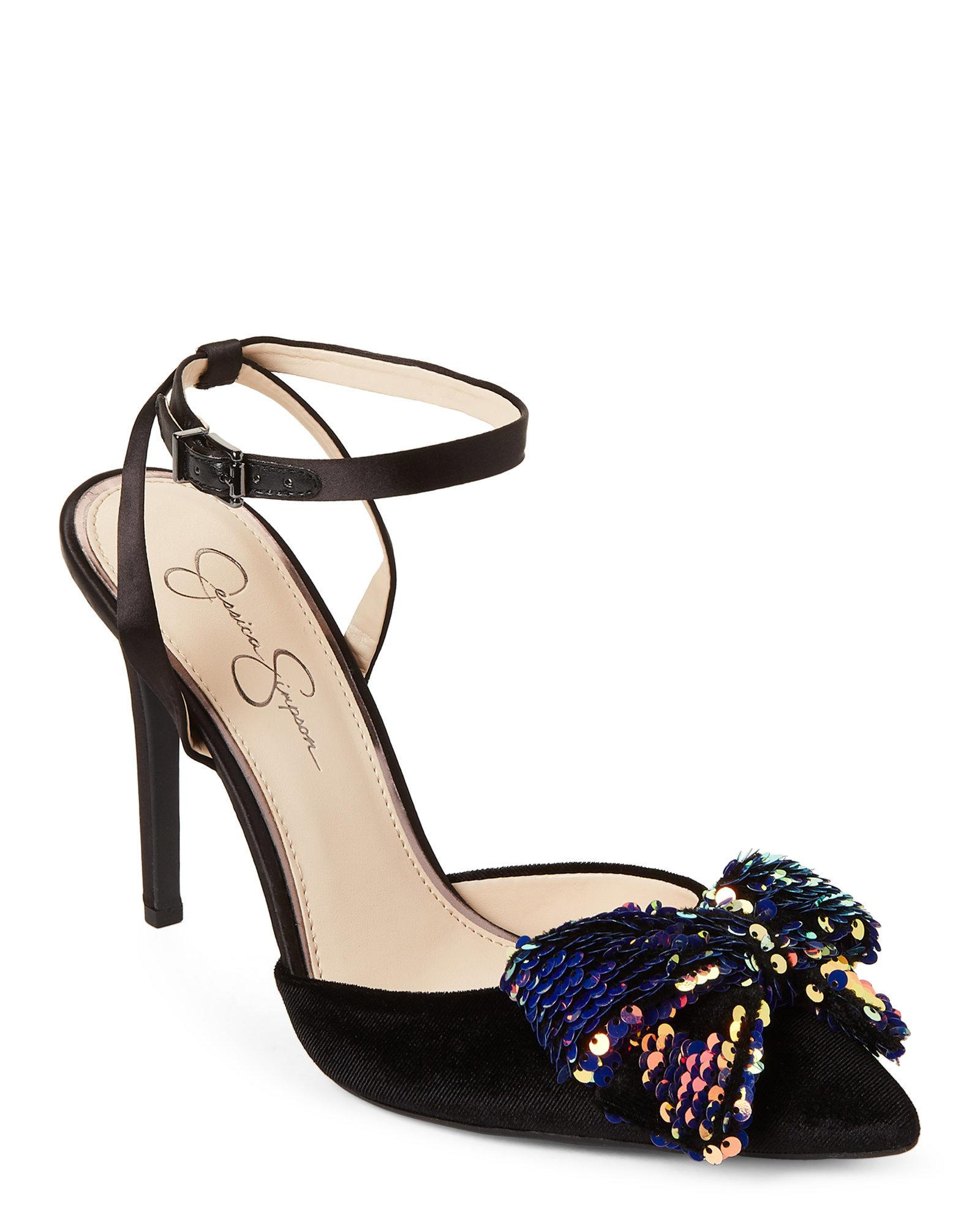 06984a0cd92b Lyst - Jessica Simpson Black Pearlanna Sequin Bow Velvet Pumps in Black