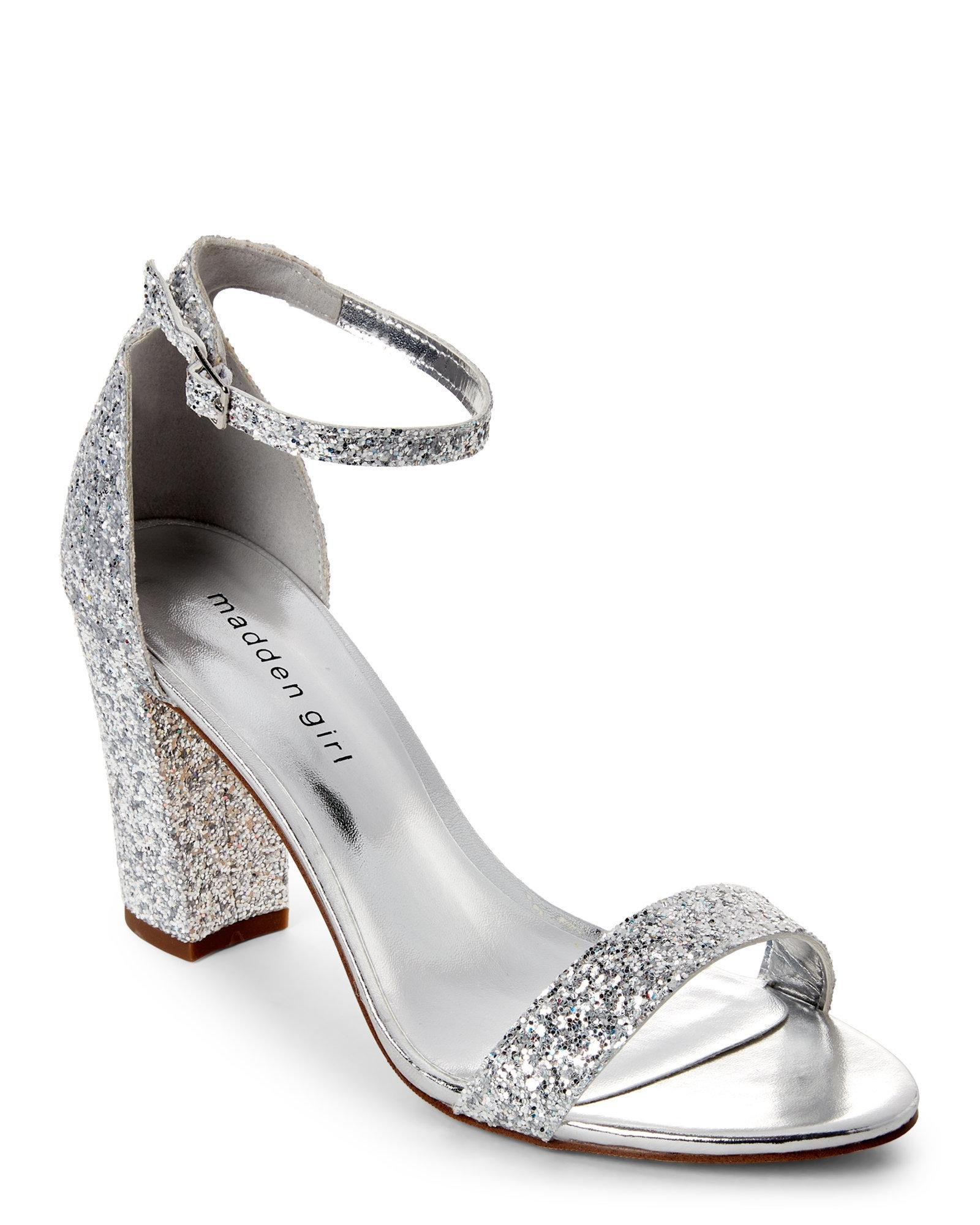 2a670b701f5 Lyst - Madden Girl Silver Bella Glitter Open Toe Heels in Metallic
