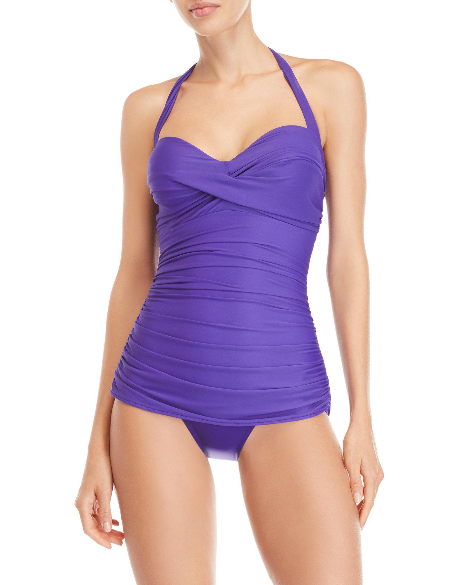 b9dc4f3cae185 Lyst - Miraclesuit Purple Caitlin Halter Neck One-piece Swimsuit in ...