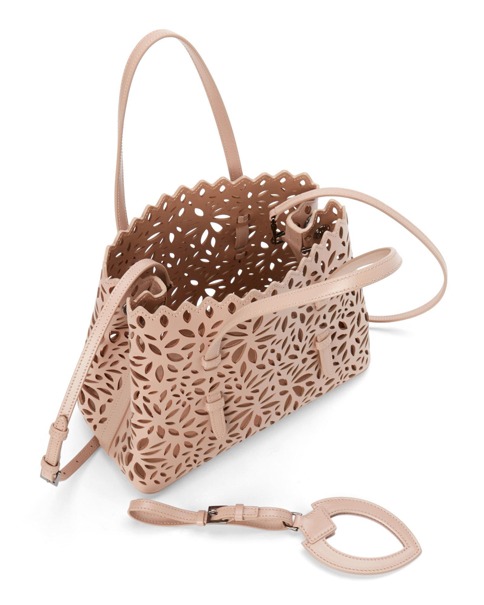 b9f6c84ac68a Alaïa Blush & Rose Gold Vienne Laser-cut Mini Leather Tote in Pink ...