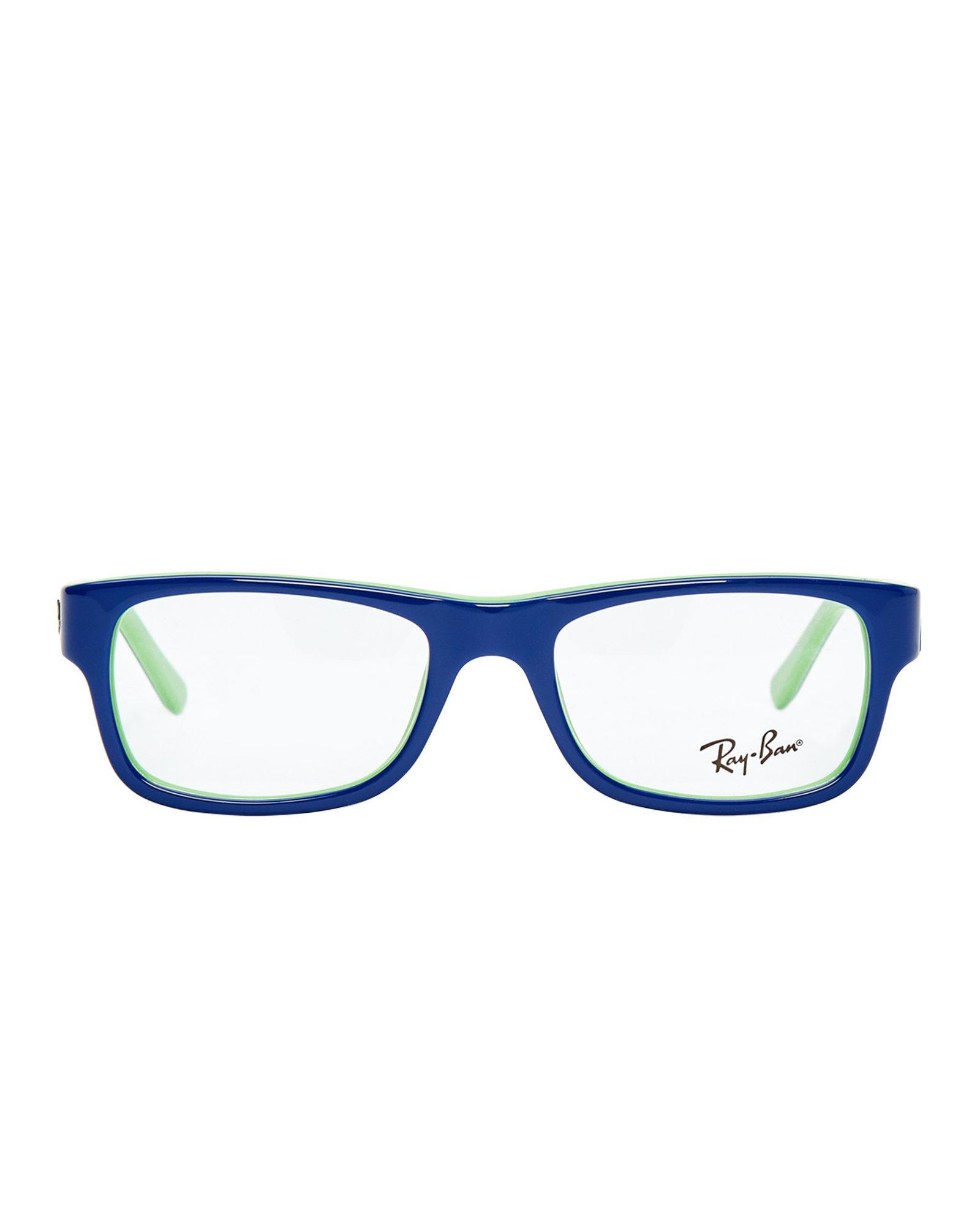 Lyst - Ray-Ban Rb5268 Blue & Green Rectangle Optical Frames in Blue ...