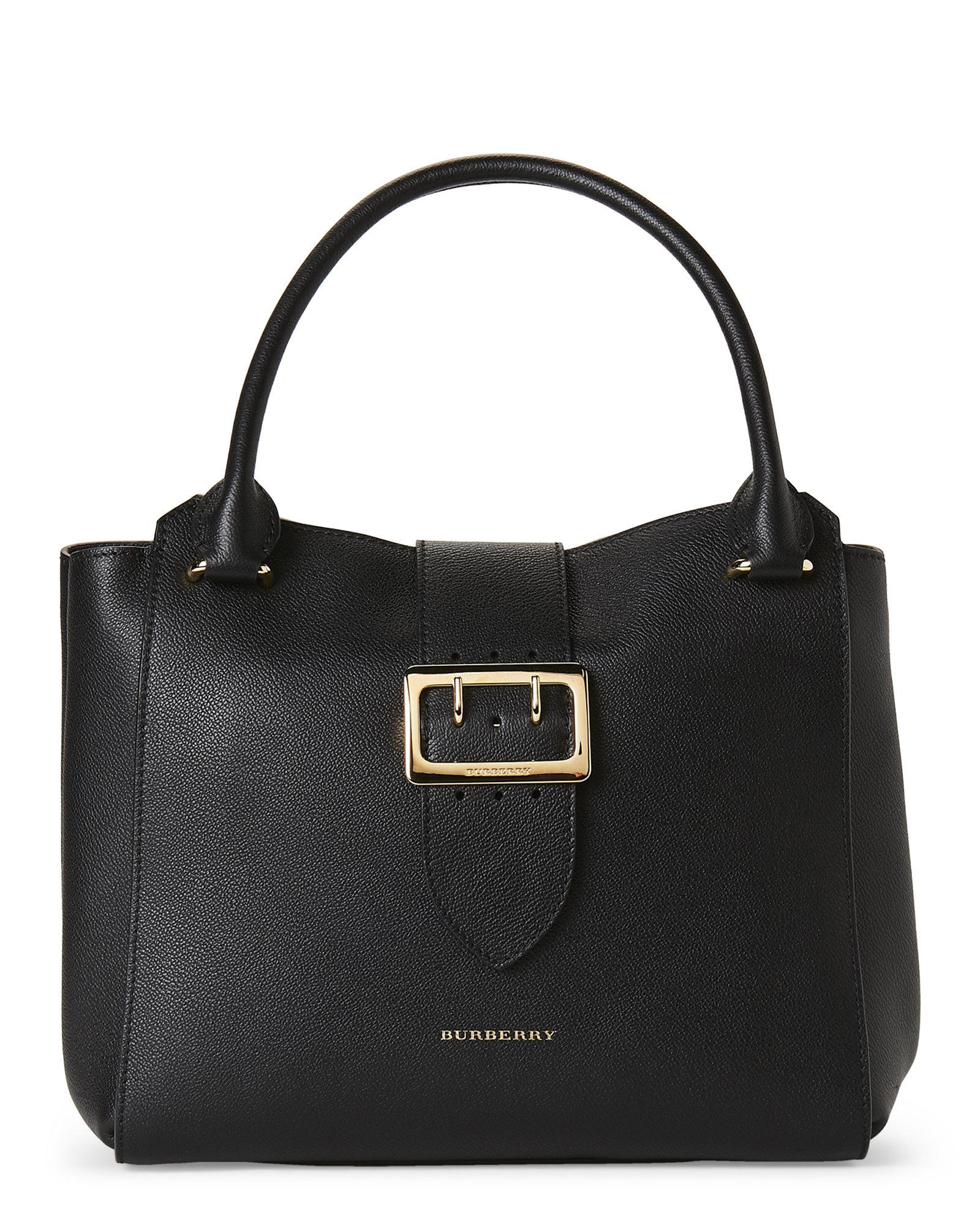c6bc7a0505b8 Lyst - Burberry Black Leather Medium Buckle Tote in Black