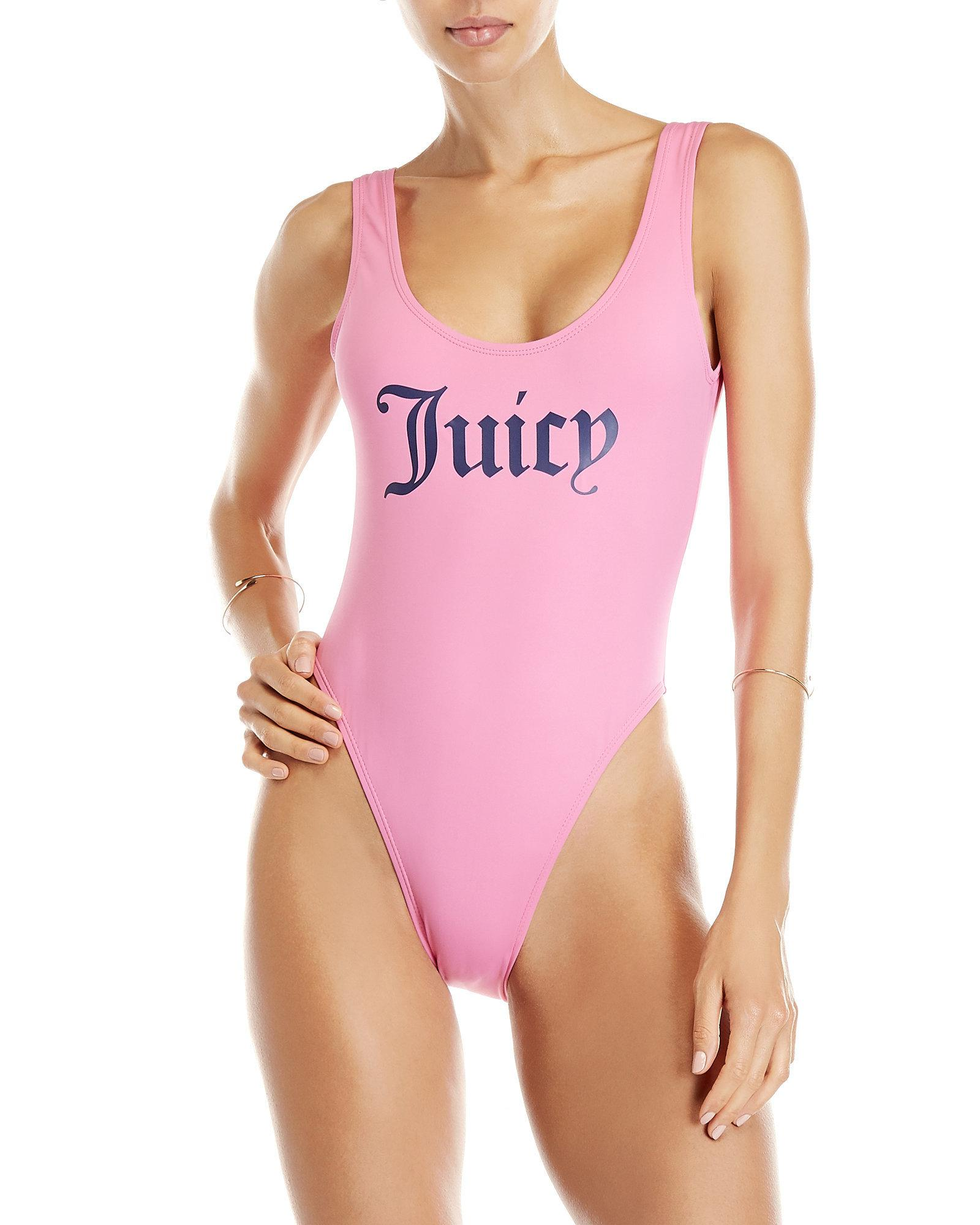 7efa6832cb589 Juicy Couture Logo High-cut One-piece Swimsuit in Pink - Lyst
