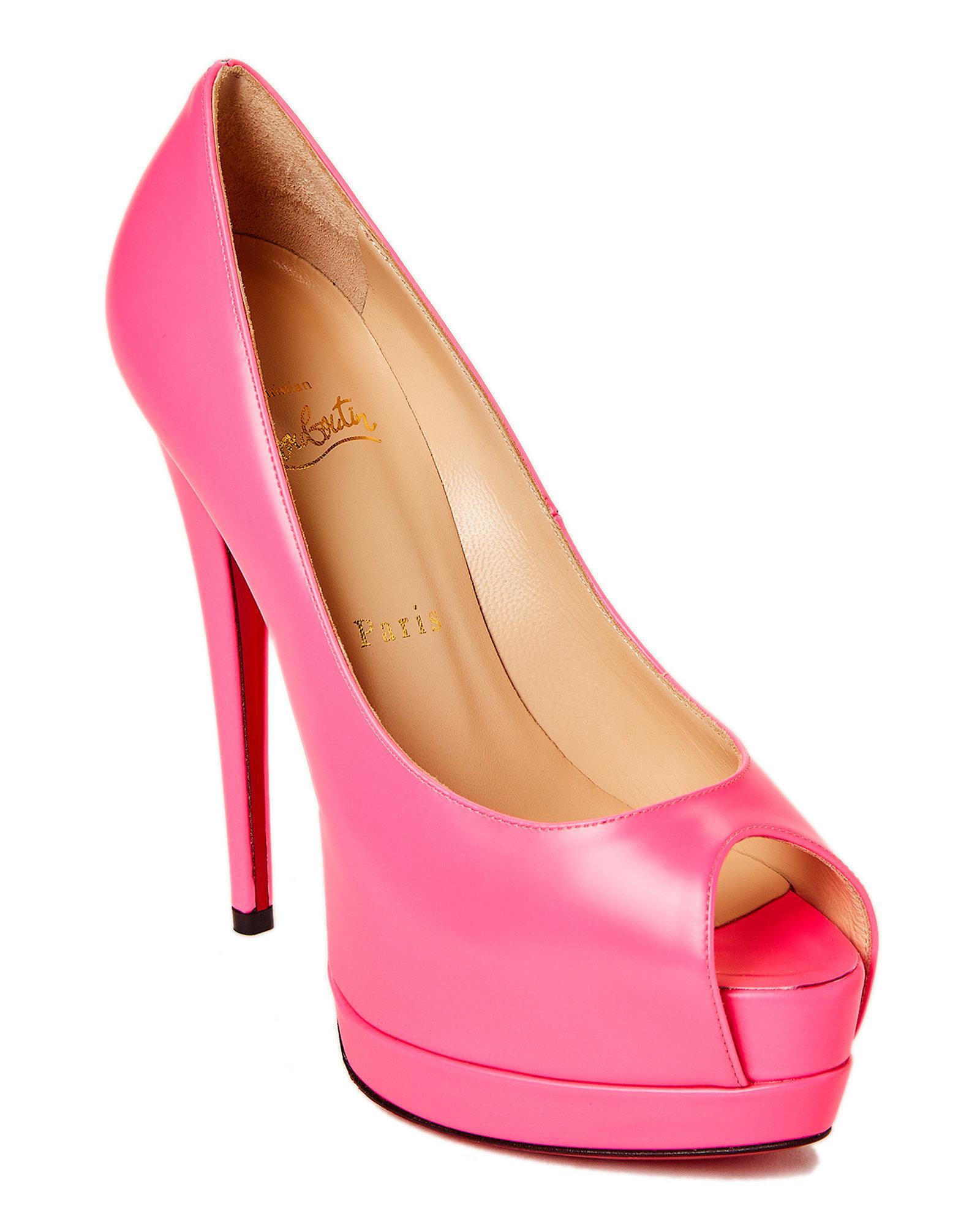bf03faf62b55 Lyst - Christian Louboutin Palais Royal Peep Toe Platform Pumps in Pink