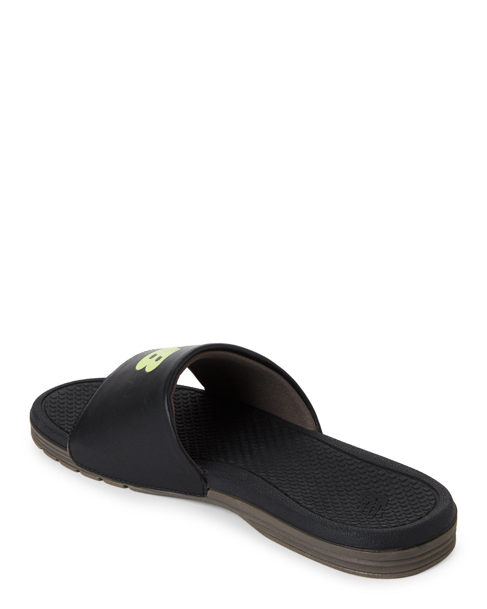 4c339af90285 Lyst - New Balance Black   Green Pro Slides in Black for Men