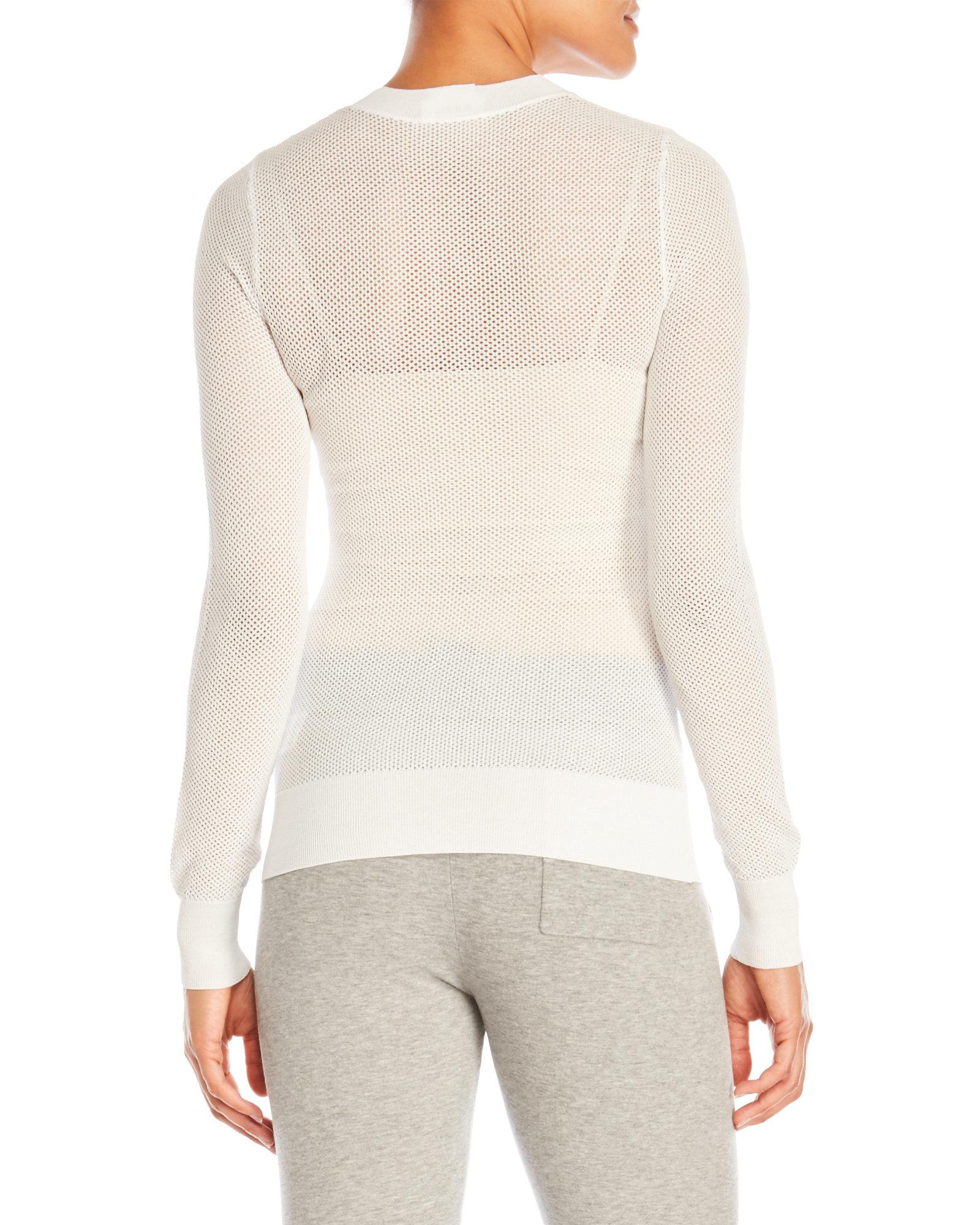 Dkny Long Sleeve Mesh Pullover Sweater in White | Lyst