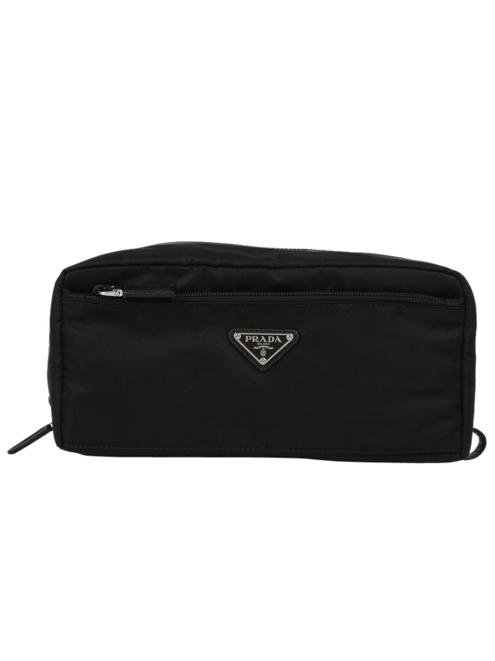 Lyst - Prada Logo Toiletry Bag in Black 86727274c5