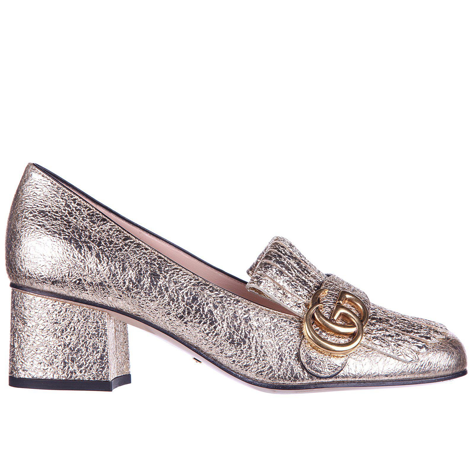 31a6cf31b Lyst - Gucci Marmont Fringe Detailed Pumps in Metallic