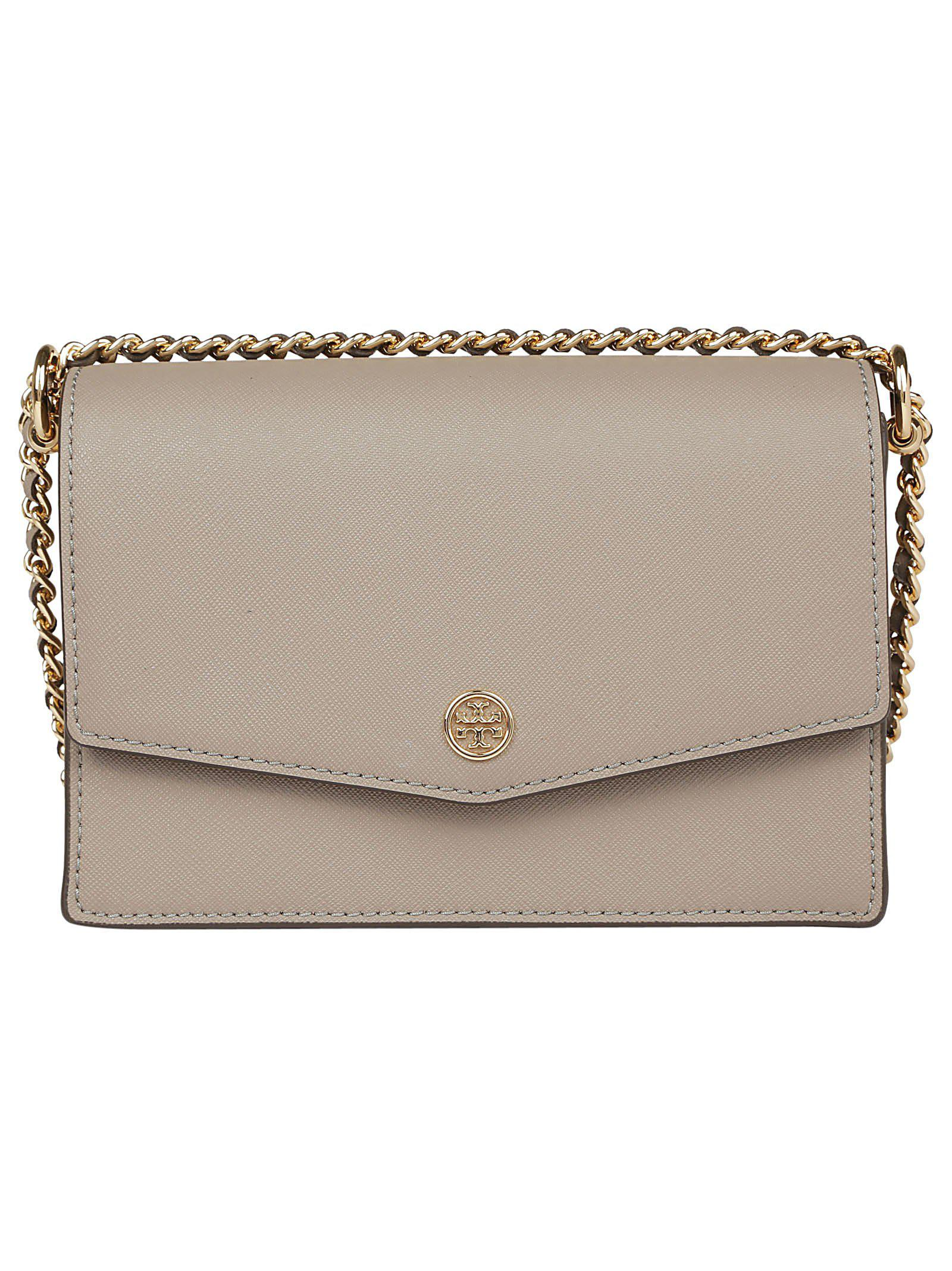 68dbab31b850 Tory Burch Robinson Convertible Mini Square Shoulder Bag in Gray - Lyst