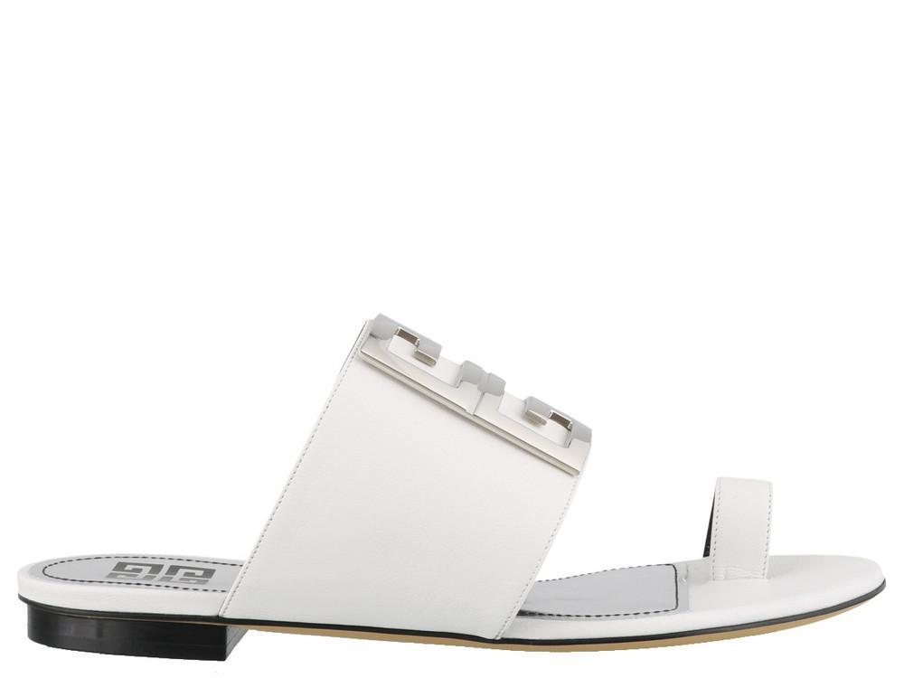 e80288073ced Givenchy 4g Slide Sandals in White - Save 32% - Lyst