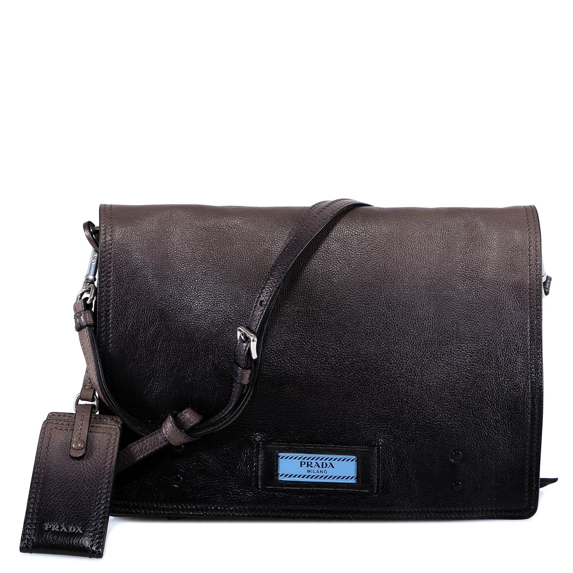 9a85b638a5586d Prada - Brown Logo Messenger Bag for Men - Lyst. View fullscreen