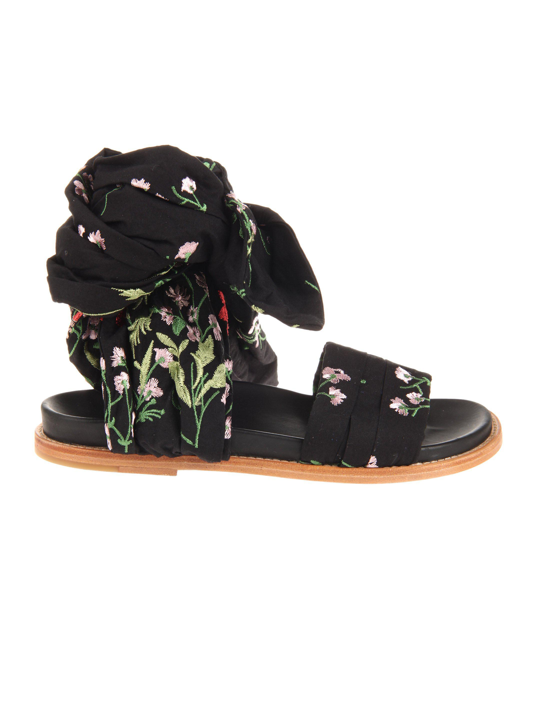 MARQUES'ALMEIDA Floral embroidered wrap sandals JAaUa