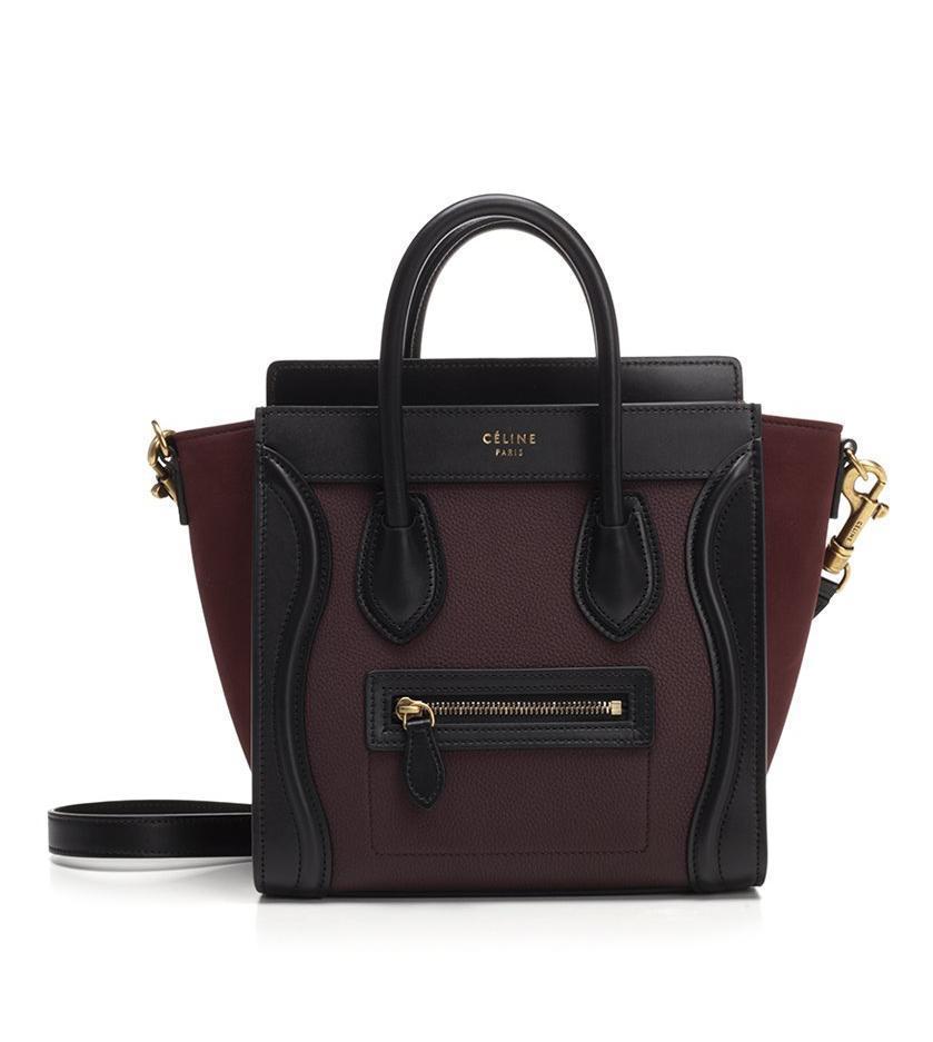 b9e442f57f Lyst - Céline Colour Block Nano Luggage Bag in Black