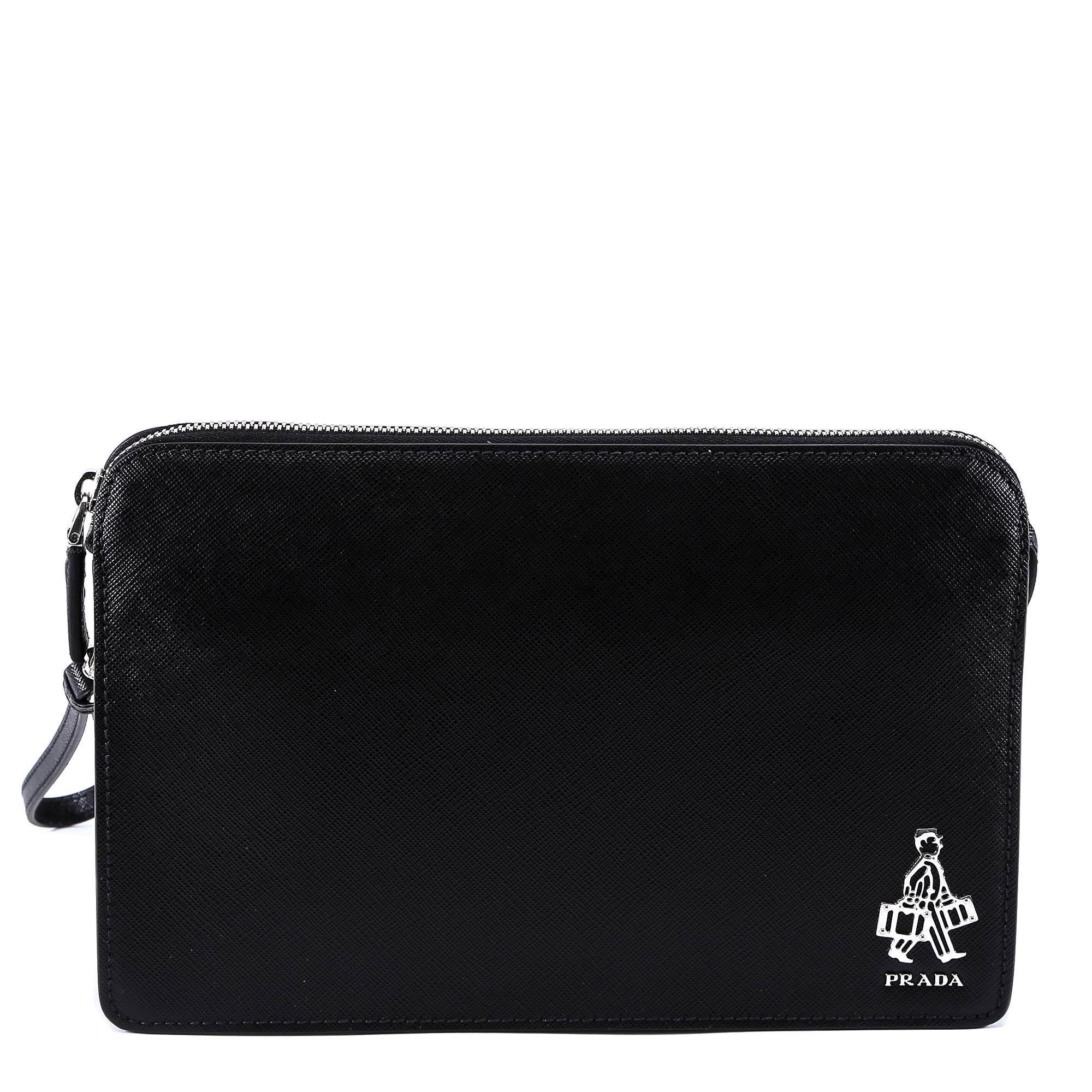 9de9fe74212160 Lyst - Prada Shopper Plaque Saffiano Clutch Bag in Black