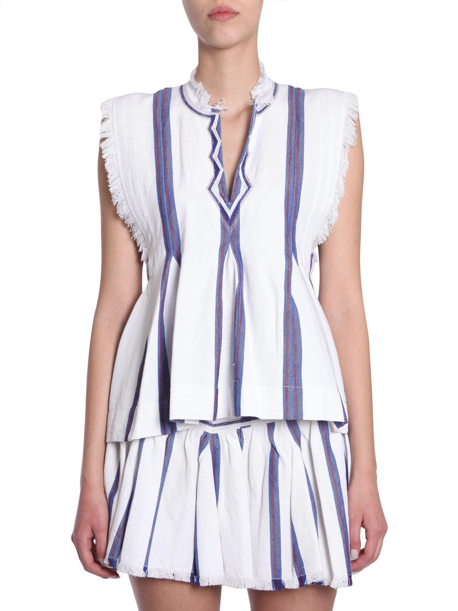 20341e41edb9f3 Lyst - Étoile Isabel Marant Drappy Cotton Top in Blue - Save 43%