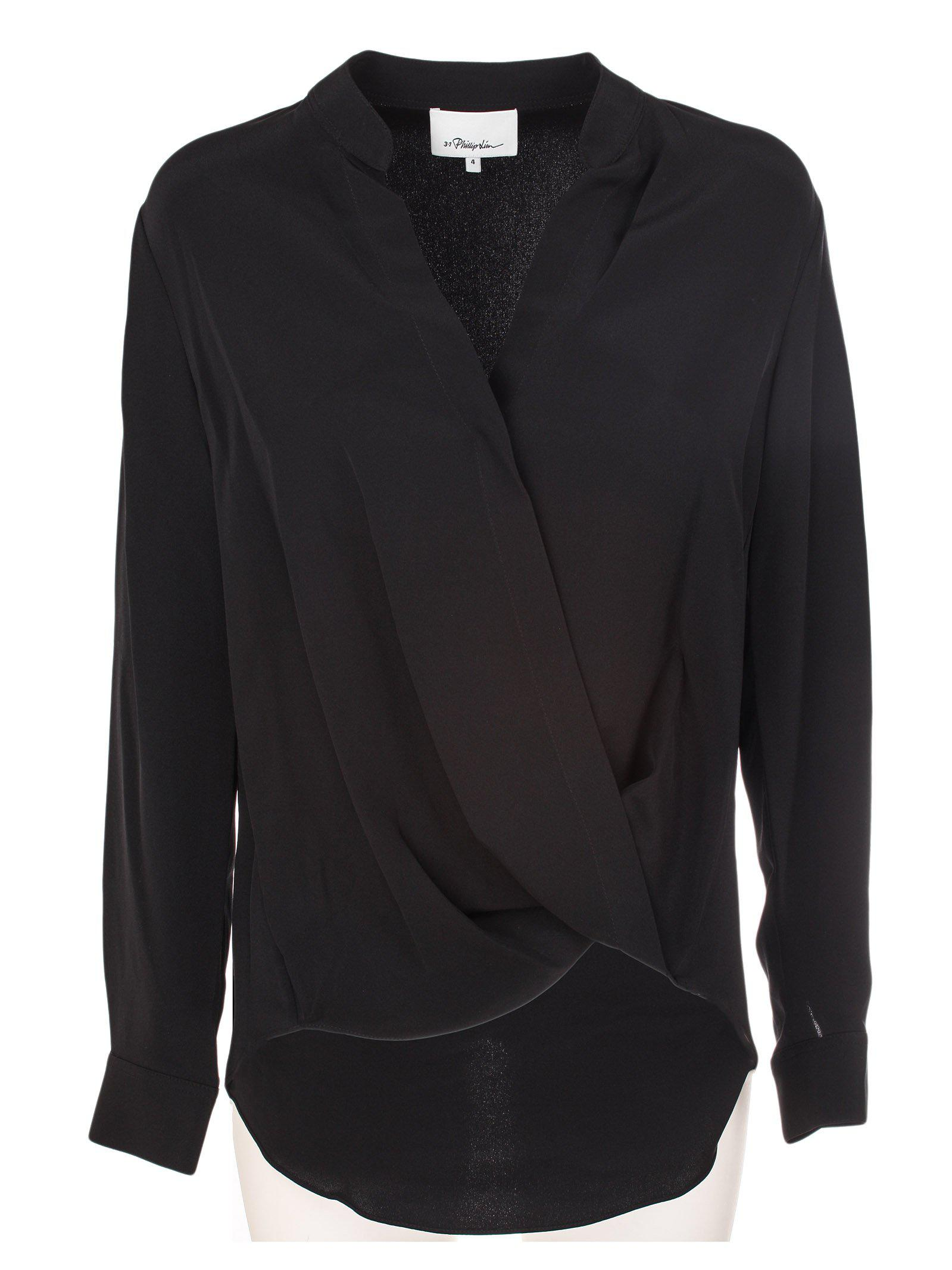 37d4896ab01fa Lyst - 3.1 Phillip Lim Silk Wrap Top in Black
