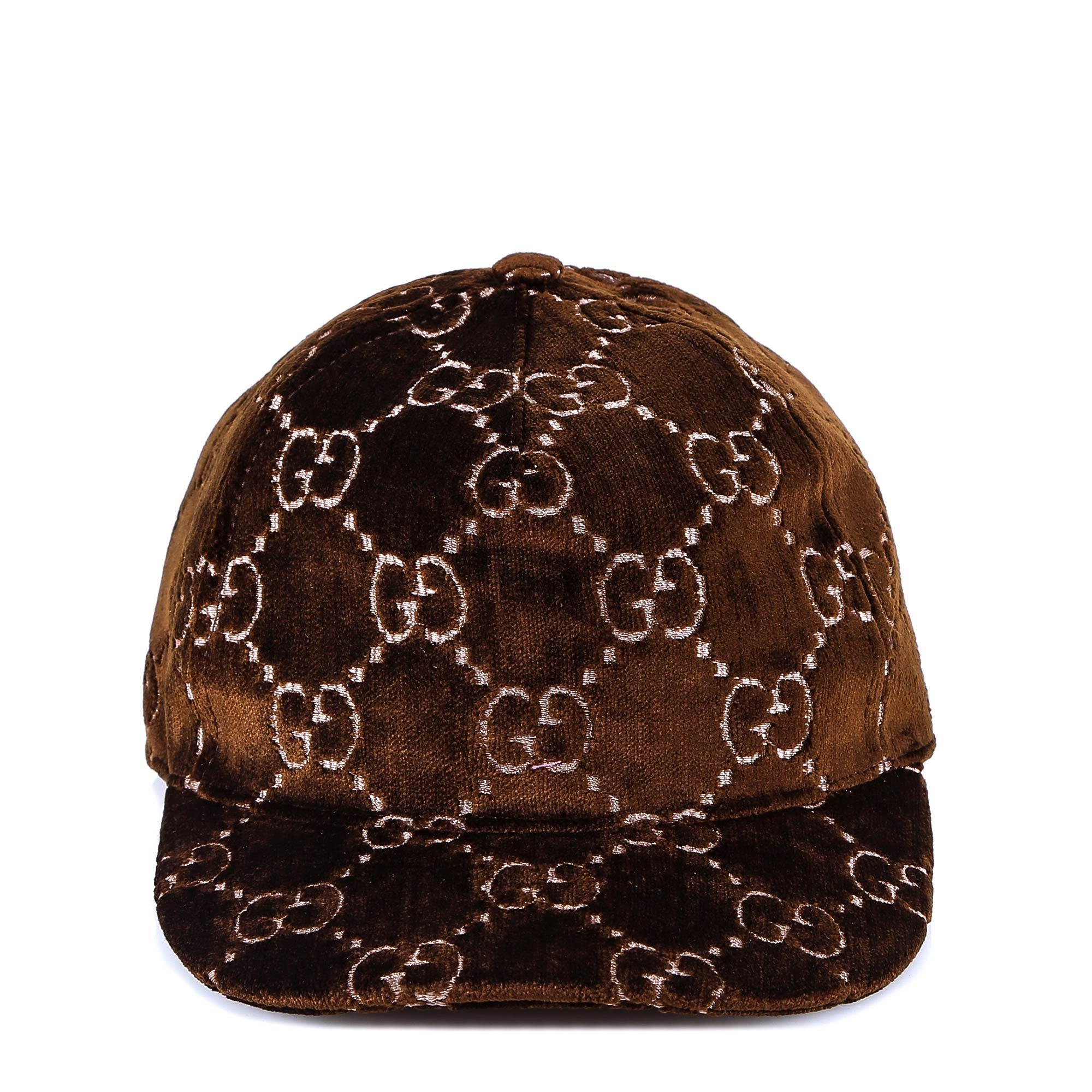 4106990c236 Lyst - Gucci GG Supreme Velvet Snapback Hat in Brown - Save 42%