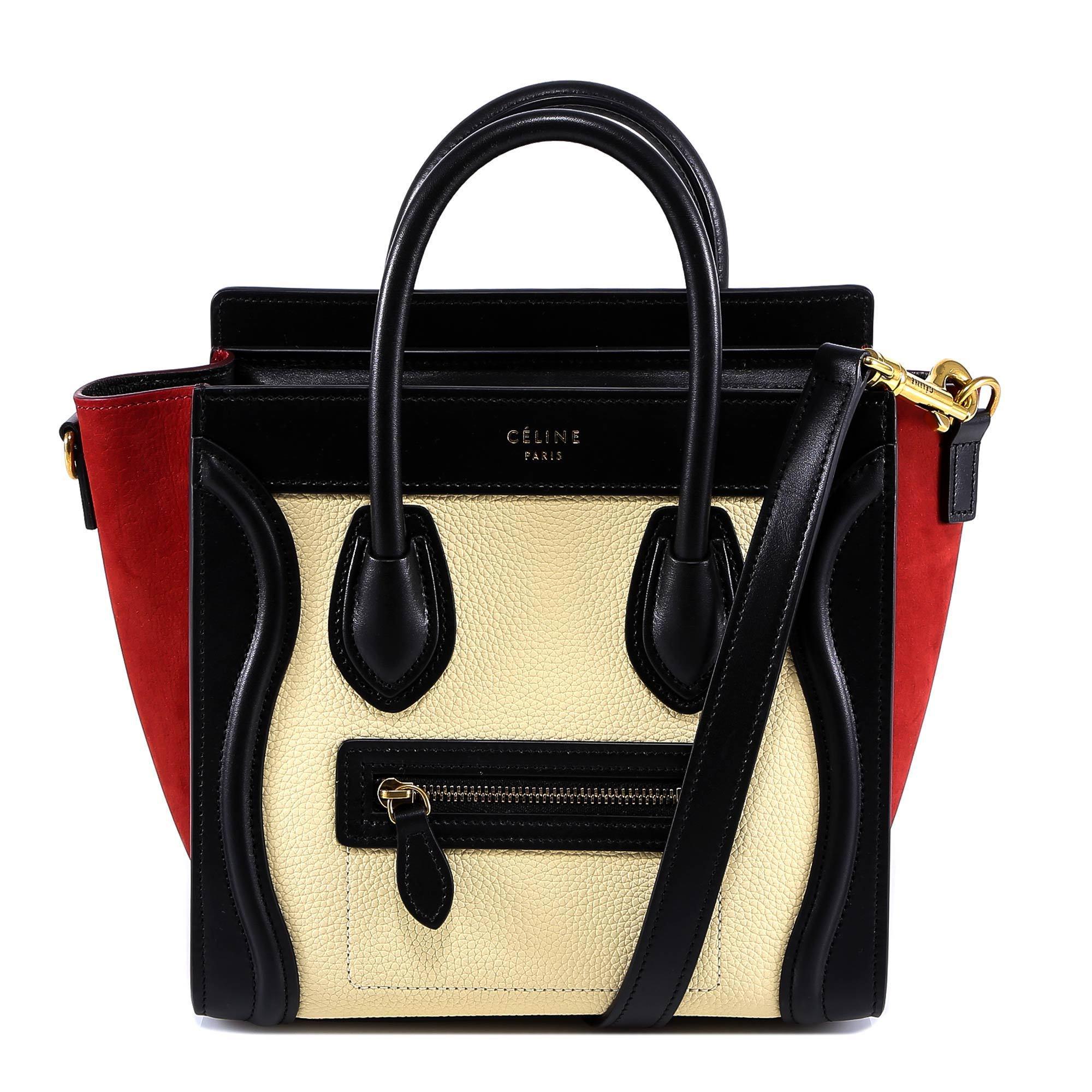 b1e612640c Céline Colour Block Nano Luggage Bag in Red - Lyst