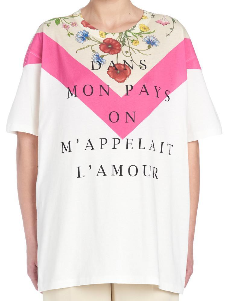5d513c4b4 Lyst - Gucci Floral Printed T-shirt in White