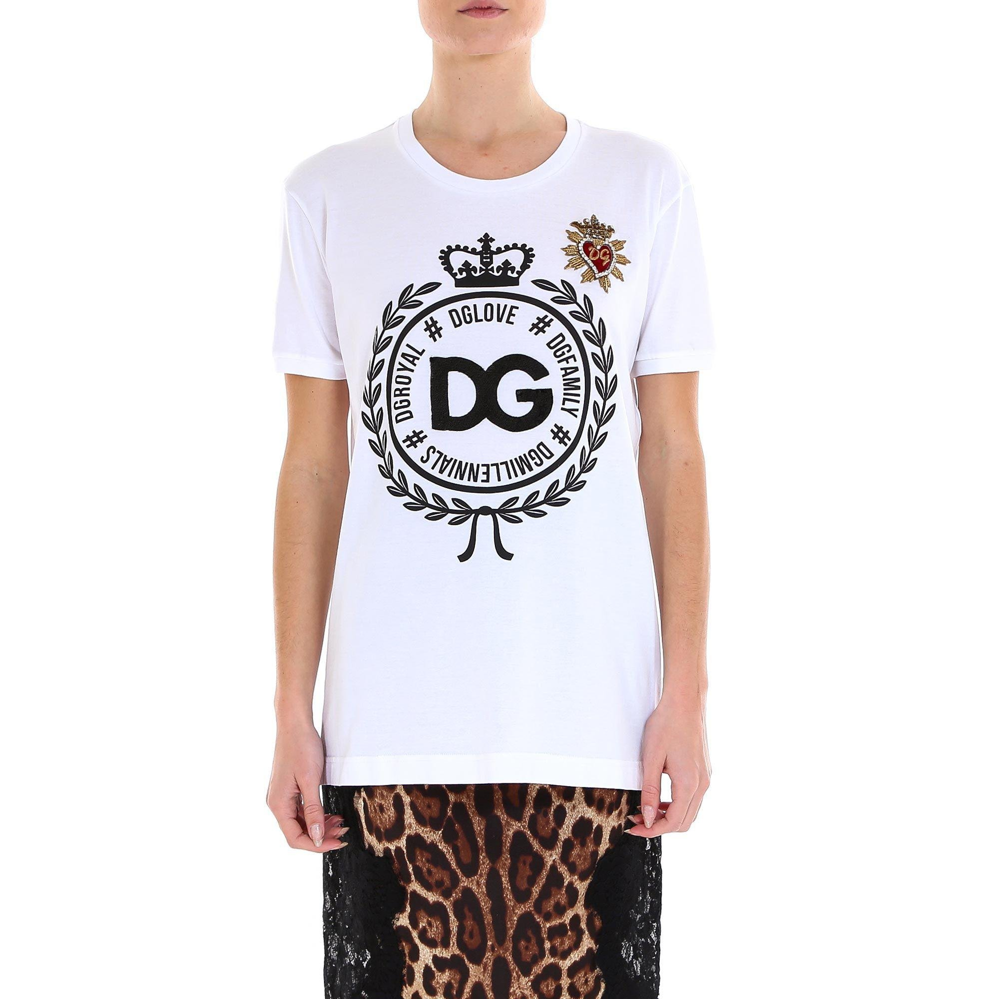 56ad892a8 Lyst - Dolce & Gabbana Logo Crown T-shirt in White