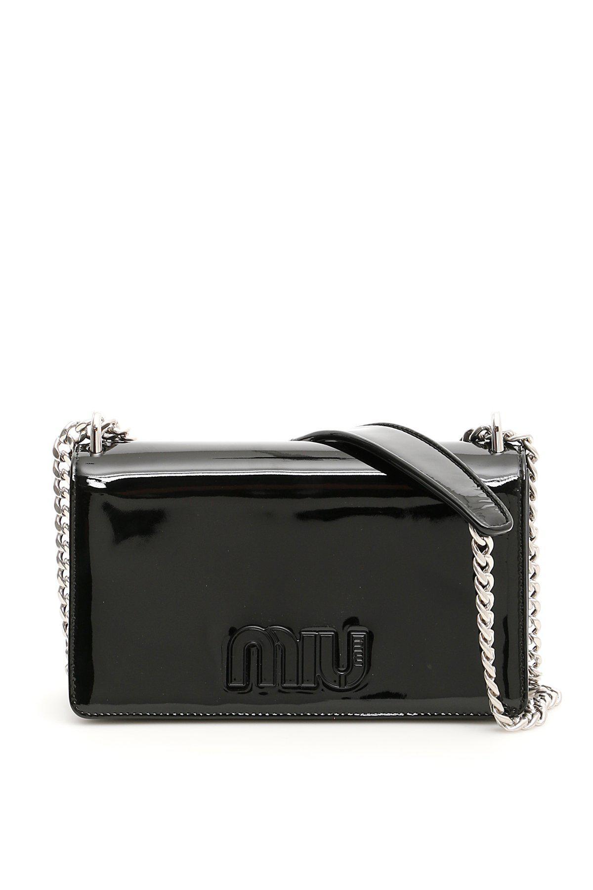 f3144b926494 Miu Miu Patent Logo Crossbody Bag in Black - Lyst