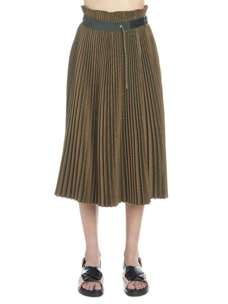 f42e958100 Sacai Belted Pleated Midi Skirt in Brown - Lyst