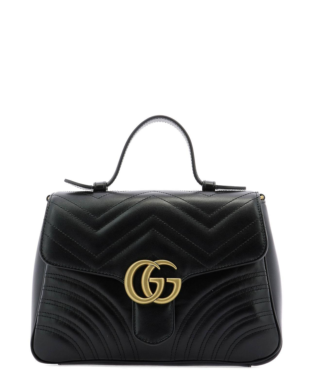 371b36b88 Gucci GG Marmont Small Top Handle Bag Black in Black - Lyst