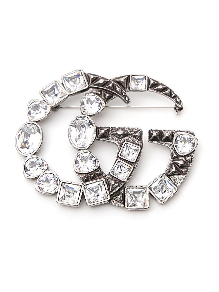 813394cf5d2 Gucci Gg Marmont Crystal Brooch in Metallic - Save 25% - Lyst