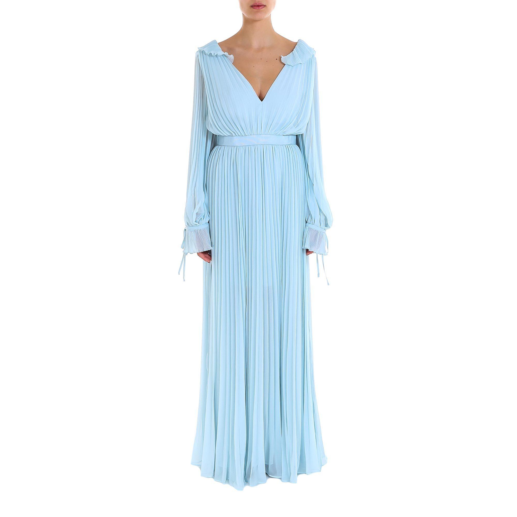 2dbf150a8b81 Self-Portrait Ruffled Pleated Dress in Blue - Lyst