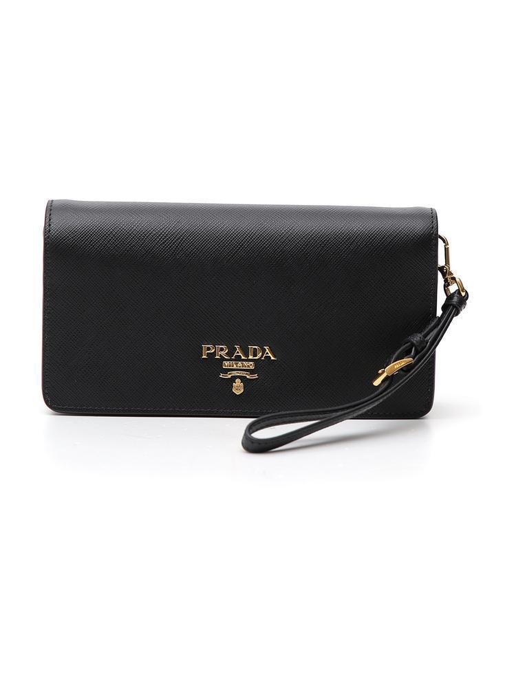 72d6f2214a45a0 Prada Saffiano Chain Clutch in Black - Lyst