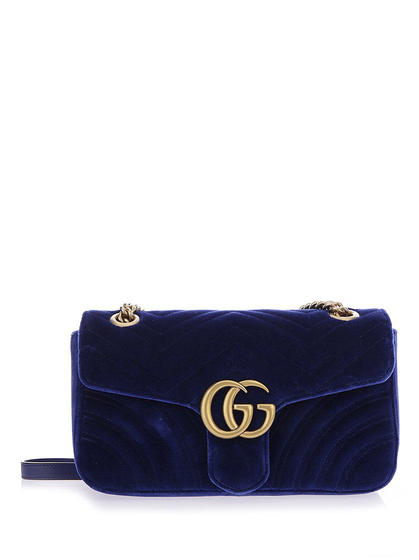 450bedb1acb Gucci Gg Marmont Velvet Small Shoulder Bag in Blue - Lyst