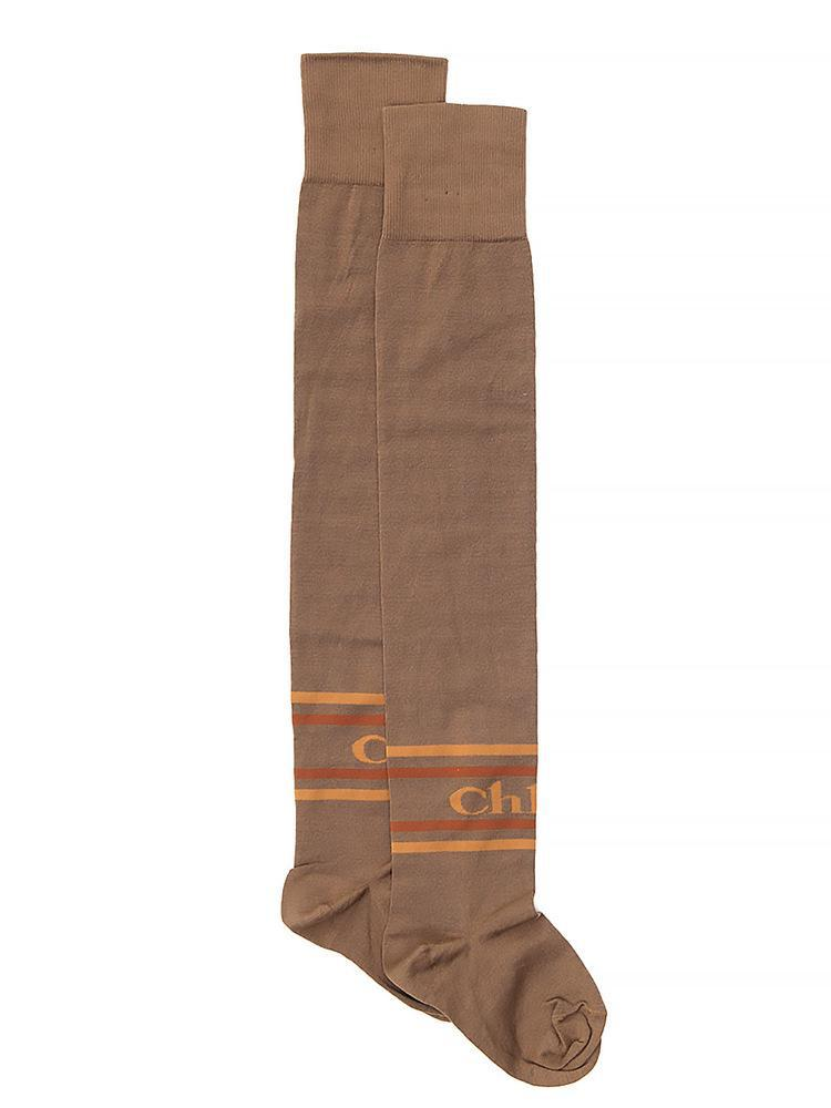 2fe57bf9290 Chloé Knee High Logo Socks in Brown for Men - Lyst