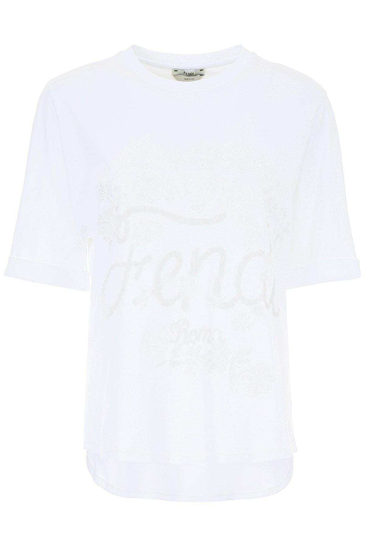 369b0277b599 Fendi Embroidered Floral Logo T-shirt in White for Men - Lyst