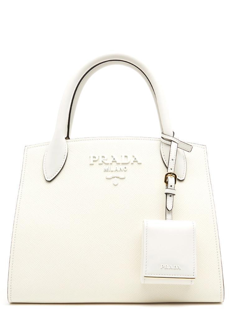 8afbb70b7532 Lyst - Prada Monochrome Logo Tote Bag in White