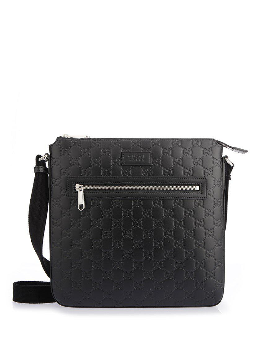 b7d4bfdd0 Lyst - Gucci Signature Leather Messenger in Black for Men