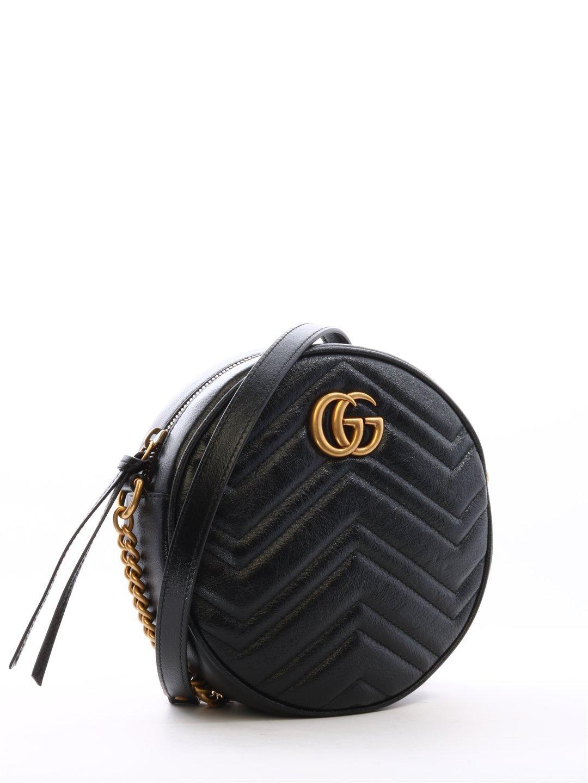 c96618cc341861 Gucci GG Marmont Mini Round Matelassé Shoulder Bag in Black - Lyst