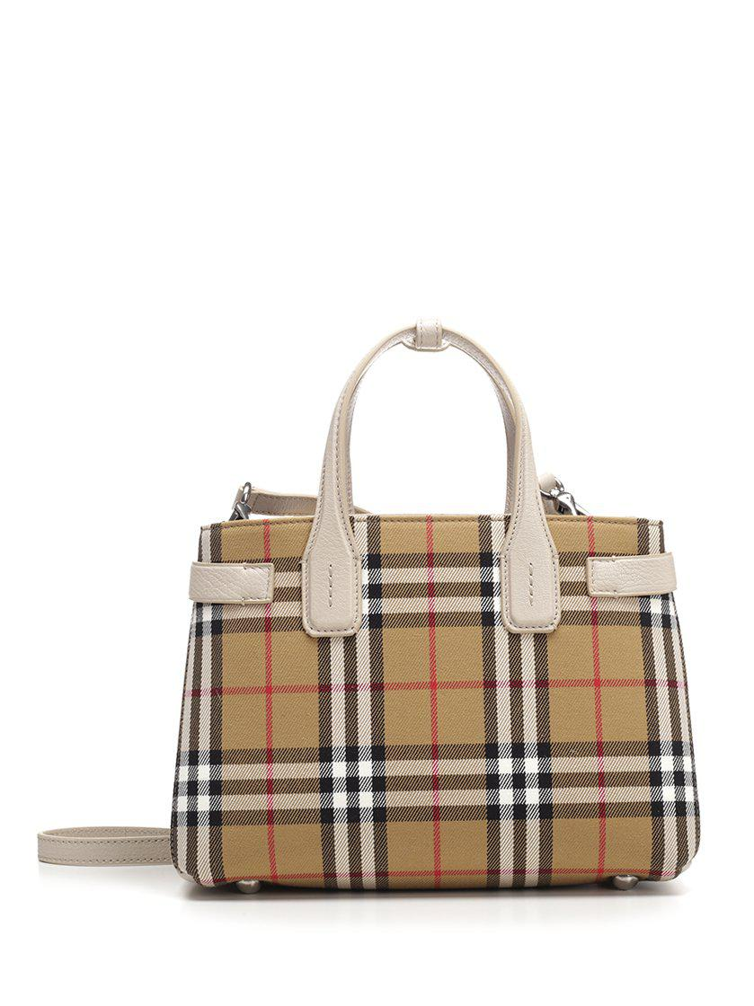 b6d5997f70 Burberry Banner Checked Top Handle Bag in Natural - Lyst
