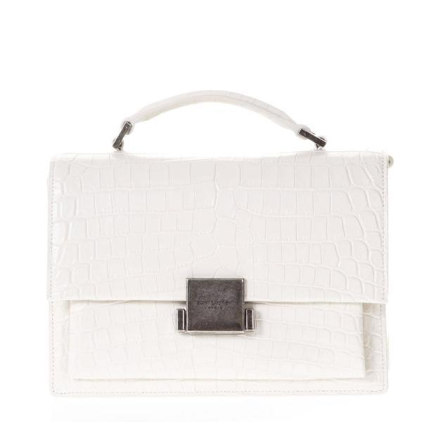 f1b4c8bce856 Lyst - Saint Laurent Medium Bellechasse Croc Effect Bag in White