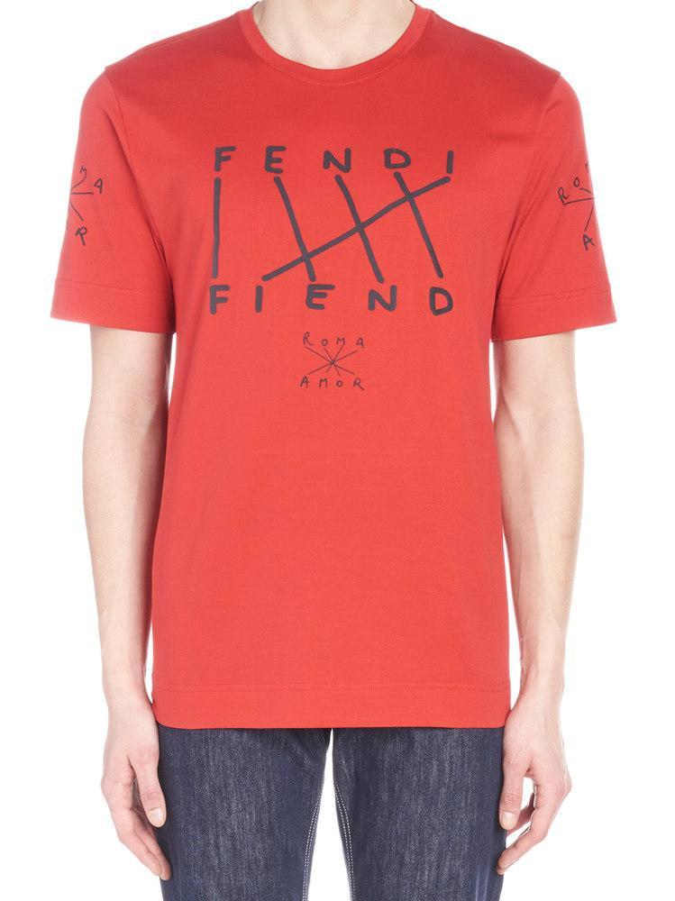 3a4fce395 Lyst - Fendi Fiend Printed T-shirt in Red for Men