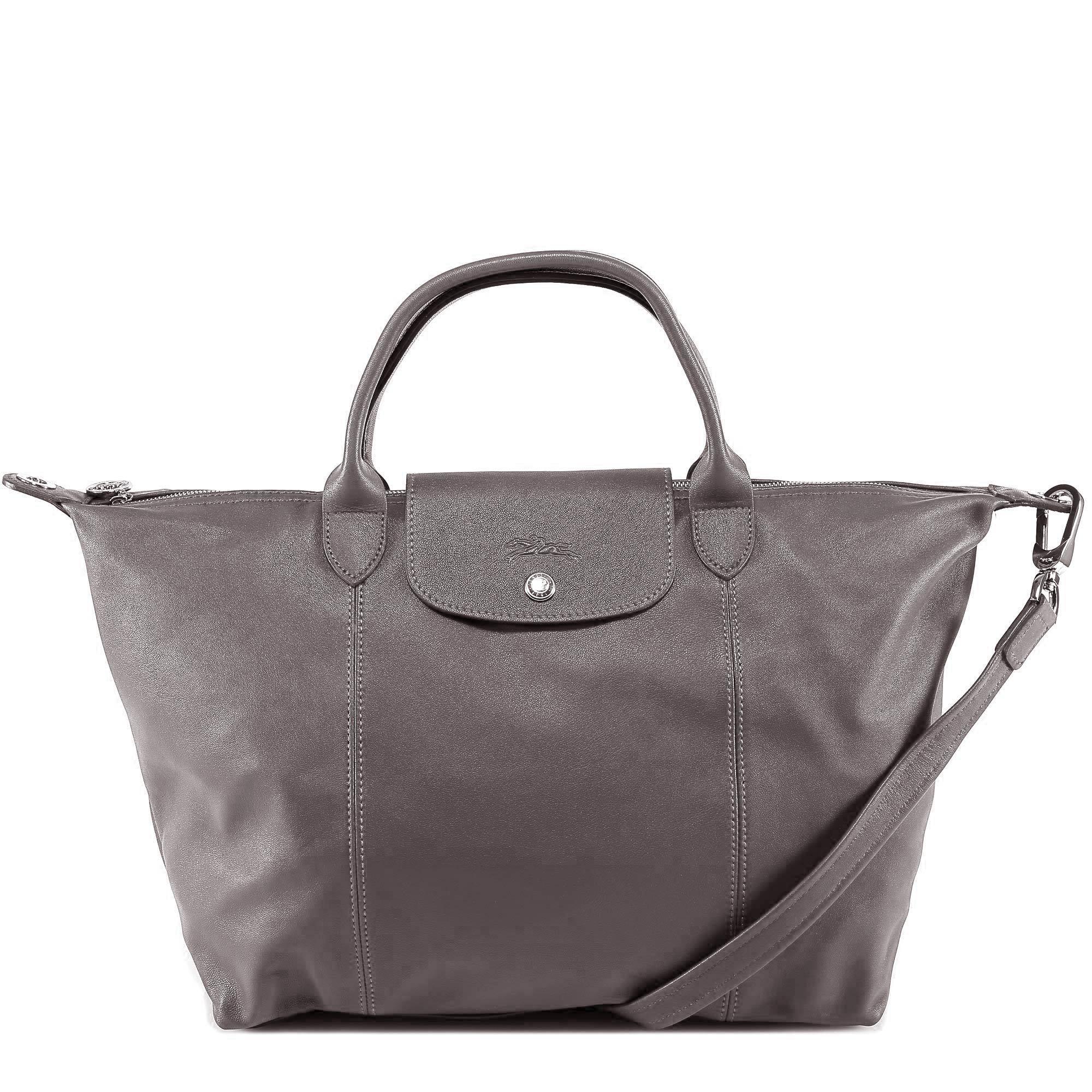 Longchamp Le Pliage Cuir Top Handle Bag in Gray - Lyst 31c964adbda9a