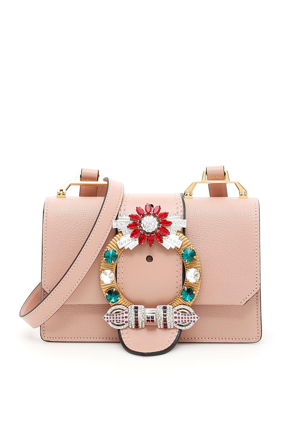 Lyst - Miu Miu Embellished Miu Lady Bag in Pink 5f3bd2770d