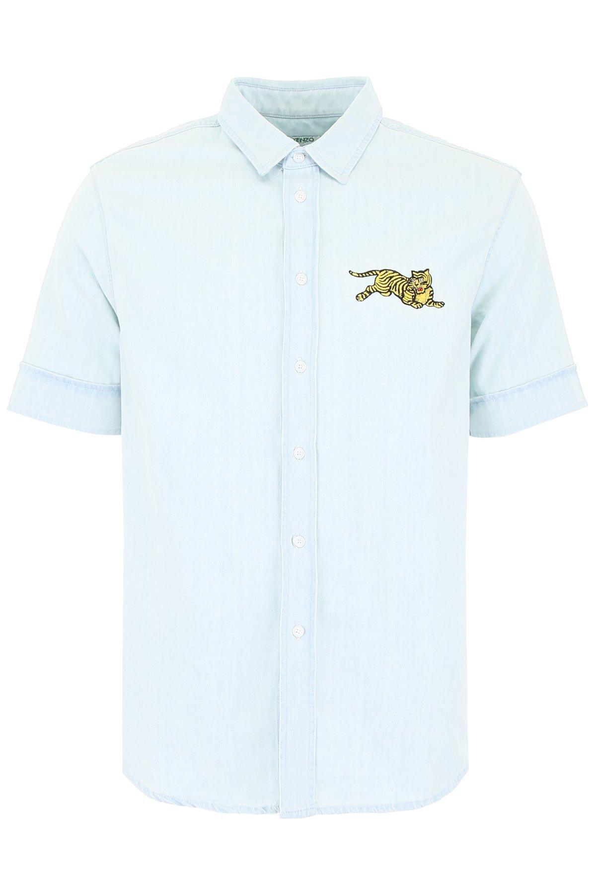 6dfb658b KENZO Jumping Tiger Denim Shirt in Blue for Men - Lyst